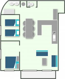 Map of the apartment T3 in Annecy